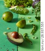 Купить «Gren vegetables for salad - lettuce, greens, pea sticks, avocado, lime on a duotone green background.», фото № 28937551, снято 15 мая 2018 г. (c) Ярослав Данильченко / Фотобанк Лори