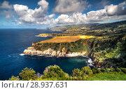 Купить «Panorama view to coastline of Sao Miguel island from Santa Iria viewpoint. Azores. Portugal», фото № 28937631, снято 20 сентября 2015 г. (c) Сергей Майоров / Фотобанк Лори