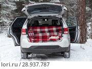 Автомобиль с открытым багажником и дверями стоит в зимнем лесу на морозе, вид сзади. Стоковое фото, фотограф Кекяляйнен Андрей / Фотобанк Лори