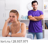 Купить «Upset woman at table after discord with husband», фото № 28937971, снято 22 мая 2019 г. (c) Яков Филимонов / Фотобанк Лори