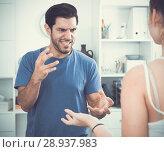Купить «Disgruntled man quarreling with girlfriend», фото № 28937983, снято 10 июля 2020 г. (c) Яков Филимонов / Фотобанк Лори
