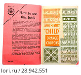 Купить «Clothing Ration book in use after World War Two to cope with post war shortages.», фото № 28942551, снято 25 июля 2018 г. (c) age Fotostock / Фотобанк Лори