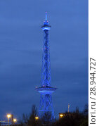 Купить «Berlin, Germany, the blue illuminated radio tower at dusk», фото № 28944727, снято 19 апреля 2016 г. (c) Caro Photoagency / Фотобанк Лори