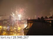 Berlin, Germany, New Year's Eve 2016 on a roof in Berlin-Prenzlauer Berg. Редакционное фото, агентство Caro Photoagency / Фотобанк Лори