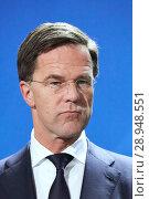 Купить «Berlin, Germany - The Prime Minister of the Netherlands Mark Rutte.», фото № 28948551, снято 19 февраля 2018 г. (c) Caro Photoagency / Фотобанк Лори