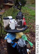 Купить «Berlin, Germany, overflowing dustbin in a green area», фото № 28952923, снято 5 ноября 2017 г. (c) Caro Photoagency / Фотобанк Лори