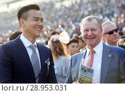 Купить «Hong Kong, China, Eddie Peng, actor (left) and Winfried Engelbrecht-Bresges, CEO of the Hong Kong Jockey Club», фото № 28953031, снято 10 декабря 2017 г. (c) Caro Photoagency / Фотобанк Лори