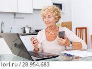 Woman using computer and smartphone. Стоковое фото, фотограф Яков Филимонов / Фотобанк Лори
