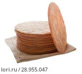 Купить «Dry baked honey cake cakes in a pile on a napkin. Isolated on white background.», фото № 28955047, снято 17 августа 2018 г. (c) Элина Гаревская / Фотобанк Лори