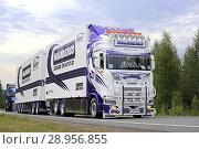 Купить «LEMPAALA, FINLAND - AUGUST 9, 2018: Micke Malmbergs Akeri Ab Scania S730 freight truck from Sweden in convoy to Power Truck Show 2018, Finland. Credit: Taina Sohlman», фото № 28956855, снято 9 августа 2018 г. (c) age Fotostock / Фотобанк Лори