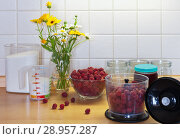 Купить «Preparation of home-made vitaminal jam from ripe raspberries with a blender on the kitchen table with a bouquet of summer flowers in a glass vase», фото № 28957287, снято 24 июля 2018 г. (c) Виктория Катьянова / Фотобанк Лори