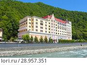 Купить «Отель Рэдиссон Роза Хутор», фото № 28957351, снято 22 июля 2018 г. (c) Ирина Носова / Фотобанк Лори