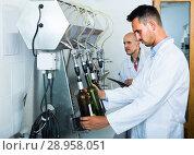Купить «worker with bottling machinery», фото № 28958051, снято 15 октября 2018 г. (c) Яков Филимонов / Фотобанк Лори