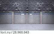 Shutter door or roller door and concrete floor inside factory building for industry background. Стоковое фото, фотограф Andrey K / Фотобанк Лори