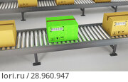 Boxes on conveyor roller. 3D Rendering. Стоковое видео, видеограф Andrey K / Фотобанк Лори