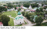 Купить «Aerial view of Spaso-Preobrazhensky cathedral in Pereslavl-Zalessky, Russia», видеоролик № 28972663, снято 2 июля 2018 г. (c) Яков Филимонов / Фотобанк Лори