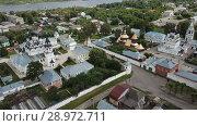 Купить «Aerial view of Trinity and Annunciation Monasteries in Murom», видеоролик № 28972711, снято 27 июня 2018 г. (c) Яков Филимонов / Фотобанк Лори