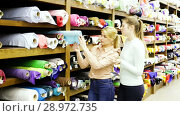 Купить «Portrait of two positive attractive girls choosing fabric among diversity on shelves in store», видеоролик № 28972735, снято 28 марта 2018 г. (c) Яков Филимонов / Фотобанк Лори