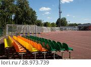Купить «On the territory of Moscow Luzhniki Olympic Complex -- Stadium for the 2018 FIFA World Cup in Russia», фото № 28973739, снято 10 августа 2018 г. (c) Владимир Журавлев / Фотобанк Лори