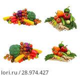 Купить «Fresh vegetables and greens on a white background», фото № 28974427, снято 19 мая 2014 г. (c) Ласточкин Евгений / Фотобанк Лори