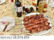Купить «Шашлык на столе», эксклюзивное фото № 28974459, снято 15 июля 2018 г. (c) Юрий Морозов / Фотобанк Лори