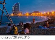 Купить «Barceloneta beach in night», фото № 28976315, снято 27 августа 2017 г. (c) Яков Филимонов / Фотобанк Лори