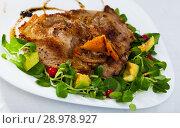 Купить «Pork chop, salad with avocado and berries», фото № 28978927, снято 16 июля 2019 г. (c) Яков Филимонов / Фотобанк Лори