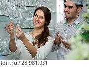 Купить «couple looking at glassware», фото № 28981031, снято 17 июня 2019 г. (c) Татьяна Яцевич / Фотобанк Лори