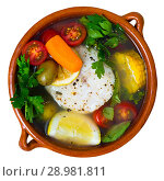 Купить «Fisherman soup with vegetables», фото № 28981811, снято 23 апреля 2019 г. (c) Яков Филимонов / Фотобанк Лори