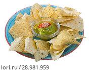 Купить «Nachos with guacamole on blue plate», фото № 28981959, снято 19 марта 2019 г. (c) Яков Филимонов / Фотобанк Лори