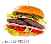 Купить «Tasty double-decker grilled burger with beef, tomato, cheese», фото № 28982003, снято 19 марта 2019 г. (c) Яков Филимонов / Фотобанк Лори