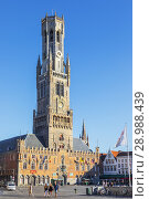 Купить «Iconic Belfry, known as Belfry of Bruges, 83 metre high (272ft) in Place de Bruges, Bruges, belgium. the belfry formerly housed the treasury and market hall known as the Halletoren.», фото № 28988439, снято 5 июля 2018 г. (c) age Fotostock / Фотобанк Лори