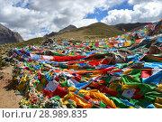 Купить «Тибет. Буддистские ритуальные флажки с мантрами и ритуальными рисунками на тропе по ходу коры из города Дорчен вокруг горы Кайлас», фото № 28989835, снято 18 июня 2018 г. (c) Овчинникова Ирина / Фотобанк Лори