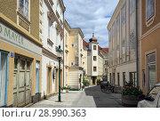 Купить «Старинная мощеная улица в историческом центре города Ибс на Дунае, Нижняя Австрия», фото № 28990363, снято 8 июля 2018 г. (c) Bala-Kate / Фотобанк Лори