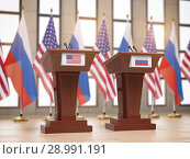 Купить «Flags of the USA and Russia and tribunes at international meeting or conference. Relationship between China and Russia concept.», фото № 28991191, снято 25 марта 2019 г. (c) Maksym Yemelyanov / Фотобанк Лори