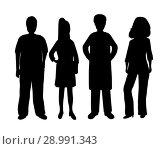 Купить «Silhouettes of women and men», иллюстрация № 28991343 (c) Мастепанов Павел / Фотобанк Лори