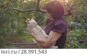 Купить «Elderly Woman With Cat», видеоролик № 28991543, снято 26 августа 2018 г. (c) Илья Шаматура / Фотобанк Лори