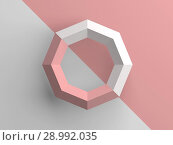 Купить «Abstract low poly object with pink and white parts, 3d render illustration», иллюстрация № 28992035 (c) EugeneSergeev / Фотобанк Лори