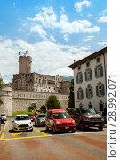 Купить «Trento, Italy - JUL 11, 2018: The view of Buonconsiglio Castle from Bernardo Clesio street», фото № 28992071, снято 11 июля 2018 г. (c) Юлия Кузнецова / Фотобанк Лори