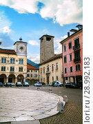 Belluno, Italy - JUL 06, 2018: Palazzo dei Rettori in historical part of Belluno. Редакционное фото, фотограф Юлия Кузнецова / Фотобанк Лори