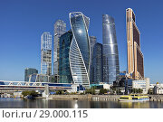 "High rise buildings of Moscow International Business Centre (MIBC), also known as ""Moscow City'. Moscow, Russia. Стоковое фото, фотограф Leonid Serebrennikov / age Fotostock / Фотобанк Лори"
