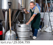 Купить «Portrait of brewer who is making beer and controls the process in the brew-house.», фото № 29004799, снято 18 сентября 2017 г. (c) Яков Филимонов / Фотобанк Лори
