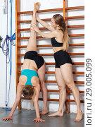Купить «Women exercising in gym», фото № 29005099, снято 10 мая 2018 г. (c) Яков Филимонов / Фотобанк Лори