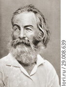 Walter 'Walt' Whitman, 1819-1892. American poet, essayist, and journalist. After a contemporary print. Редакционное фото, фотограф Classic Vision / age Fotostock / Фотобанк Лори