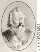Купить «Johannes Brahms, 1833-1897. German composer and pianist of the Romantic period. Illustration by Gordon Ross, American artist and illustrator (1873-1946), from Living Biographies of Great Composers.», фото № 29008935, снято 27 мая 2020 г. (c) age Fotostock / Фотобанк Лори