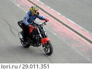 Купить «Стантрайдинг на мотодроме в Мячково», фото № 29011351, снято 27 апреля 2018 г. (c) Free Wind / Фотобанк Лори