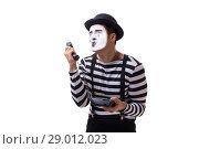 Купить «Mime with telephone isolated on white background», фото № 29012023, снято 24 августа 2017 г. (c) Elnur / Фотобанк Лори