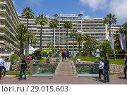 Купить «Grand Hotel Cannes France a resort town on the French Riviera, is famed for its international film festival. Its Boulevard de la Croisette, curving along...», фото № 29015603, снято 11 мая 2018 г. (c) age Fotostock / Фотобанк Лори