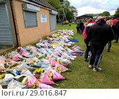 Купить «People gathered at Thrapston Town football club today to hold a vigil...», фото № 29016847, снято 1 мая 2017 г. (c) age Fotostock / Фотобанк Лори