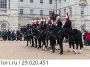 Купить «Horse Guards of Whitehall in London», фото № 29020451, снято 29 октября 2017 г. (c) EugeneSergeev / Фотобанк Лори